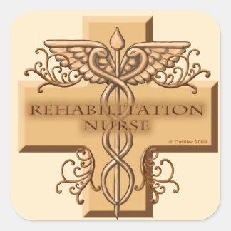 Caduceus van de Verpleegster van Rehab Vierkante Stickers