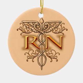 Caduceus van het Koper RN van de verpleegster Fanc Rond Keramisch Ornament