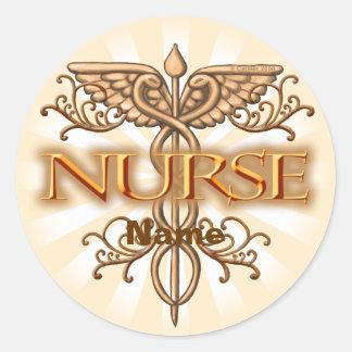 Caduceus van het Koper van de verpleegster Fancy Ronde Stickers