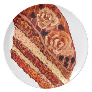 Cake 4 van de chocolade melamine+bord