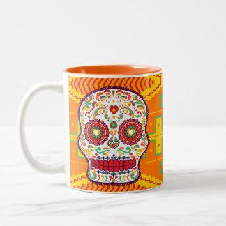 Calavera (ii). Dag van de Dode Mexicaanse Schedel Tweekleurige Koffiemok