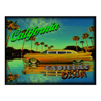 Californië cadillac stijlposter poster