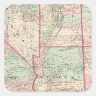 Californië, Utah, Nevada, Colorado Vierkante Sticker