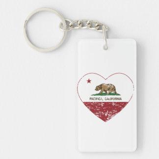 Californië verontruste het hart van vlagpacifica sleutelhanger
