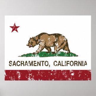 Californië vlag verontrust Sacramento Poster