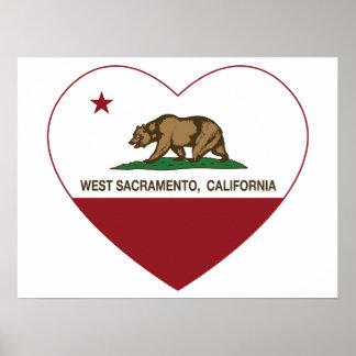 Californië vlag West-Sacramento hart Poster