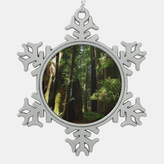 Californische sequoia's en Varens bij het Tin Sneeuwvlok Ornament