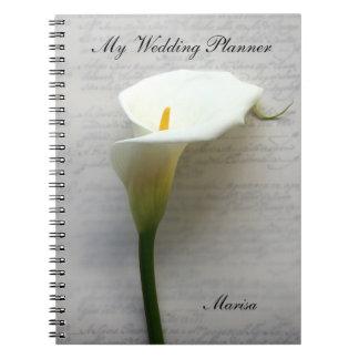 Calla lelie bij het oude handschrift ringband notitie boek