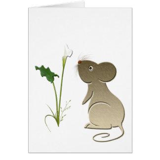 Calla lelie en leuke muis wenskaart