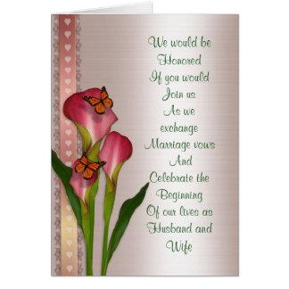 Calla lelies op de roze uitnodiging van het wenskaart