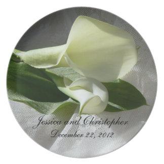 Calla Lelies op het Witte Huwelijk van het Kant Melamine+bord