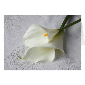 calla lelies op linnen wenskaart