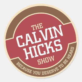 Calvin Hicks toont Ronde Sticker