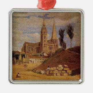 Camille Corot- Chartres Kathedraal Zilverkleurig Vierkant Ornament