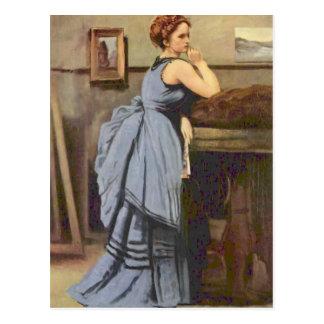 Camille Corot- de Vrouw in Blauw Briefkaart