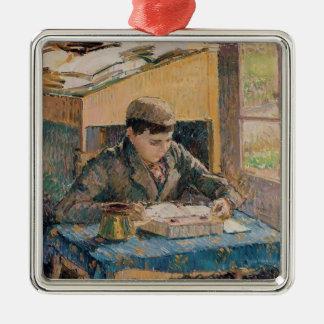 Camille Pissarro- Portrait van Lezing Rodo Zilverkleurig Vierkant Ornament