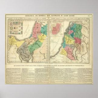 Canaan - de Kaart van de Atlas van Israël Poster