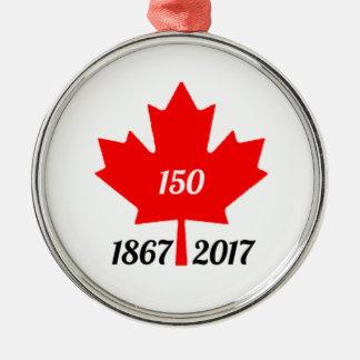Canada 150 in de esdoornblad van 2017 zilverkleurig rond ornament
