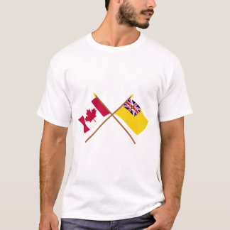 Canada en Niue Gekruiste Vlaggen T Shirt