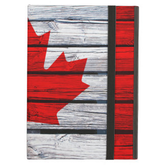 Canadese die Vlag op Rustiek Hout wordt geschilder iPad Air Hoesje