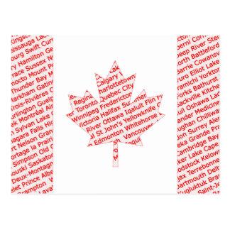 Canadese vlag met stad en stadsnamenbriefkaart briefkaart