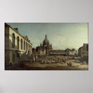 Canaletto - Uitzicht van Neumarkt in Dresden Poster