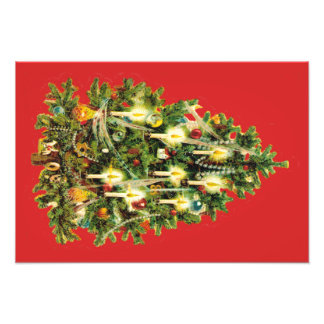 Candlelit Kerstboom siert Slinger Foto