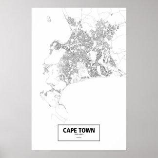 Cape Town, zwart Zuid-Afrika (op wit) Poster