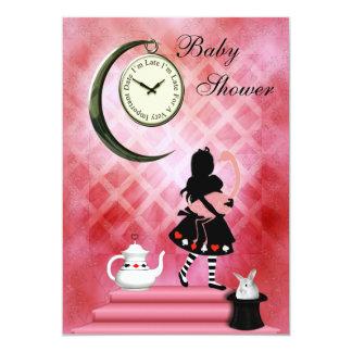 Capricieuze Alice & de Roze Douche van het Meisje 12,7x17,8 Uitnodiging Kaart