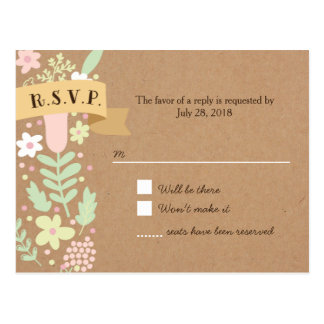 Capricieuze BloemenKroon op het Document RSVP van Briefkaart