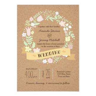 Capricieuze BloemenKroon op het Huwelijk van het 12,7x17,8 Uitnodiging Kaart