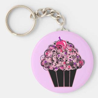 Capricieuze Cupcake Basic Ronde Button Sleutelhanger