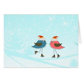 Capricieuze het Schaatsen van Vogels Kerstmis van Briefkaarten 0