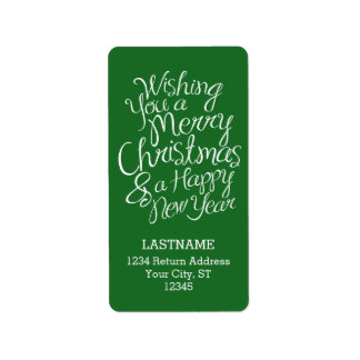 Capricieuze Typografie voor Kerstmis en Nieuwjaar Addressticker