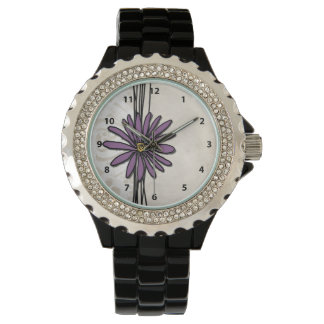 Capricieuze Vintage Paarse Daisy Horloge