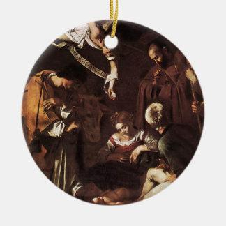 Caravaggio - Geboorte van Christus met St Francis Rond Keramisch Ornament