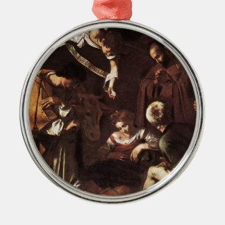 Caravaggio - Geboorte van Christus met St Francis Zilverkleurig Rond Ornament