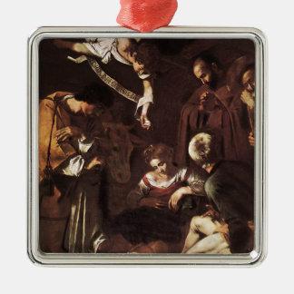 Caravaggio - Geboorte van Christus met St Francis Zilverkleurig Vierkant Ornament