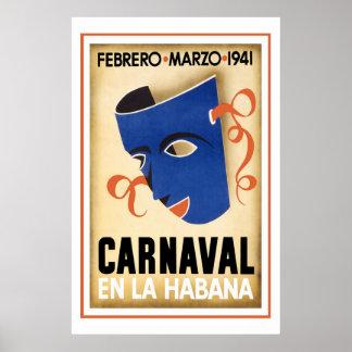 Carnaval in de Vintage Reis van Havana Poster