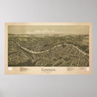 Carnegie Pennsylvania 1897 Antiek Panoramische Poster