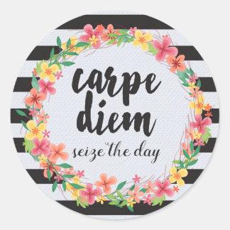 Carpe Diem/grijpt het Citaat van de Dag Ronde Sticker