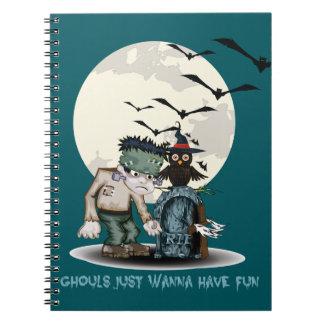 Cartoon Frankenstein naast ernstig Halloween Notitieboek