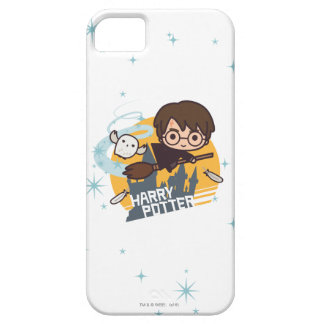 Cartoon Harry en Hedwig Flying Past Hogwarts Barely There iPhone 5 Hoesje