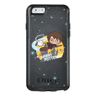 Cartoon Harry en Hedwig Flying Past Hogwarts OtterBox iPhone 6/6s Hoesje