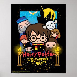 Cartoon Harry Potter en de Steen van de Tovenaar Poster