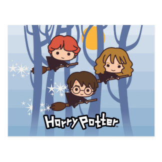 Cartoon Harry, Ron, & Hermione die in Bos vliegt Briefkaart