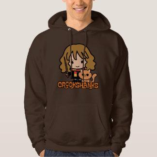 Cartoon Hermione en Crookshanks Hoodie