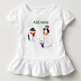 Cartoon van een Sneeuwman, een pinguïn en een Kinder Shirts