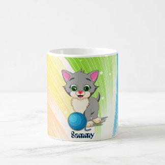 Cartoon van het Katje van Cutie de Grijze Koffiemok