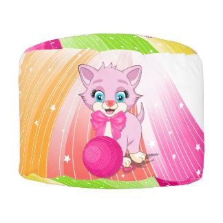Cartoon van het Katje van Cutie de Roze Ronde Poef